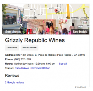 Grizzly Republic Wines on Google search