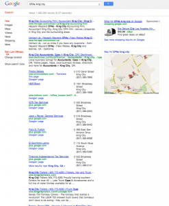 "Search results for ""CPAs King City"" on Aug. 24, 2012."