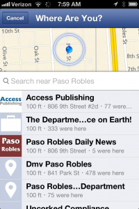 Facebook Places check-in app