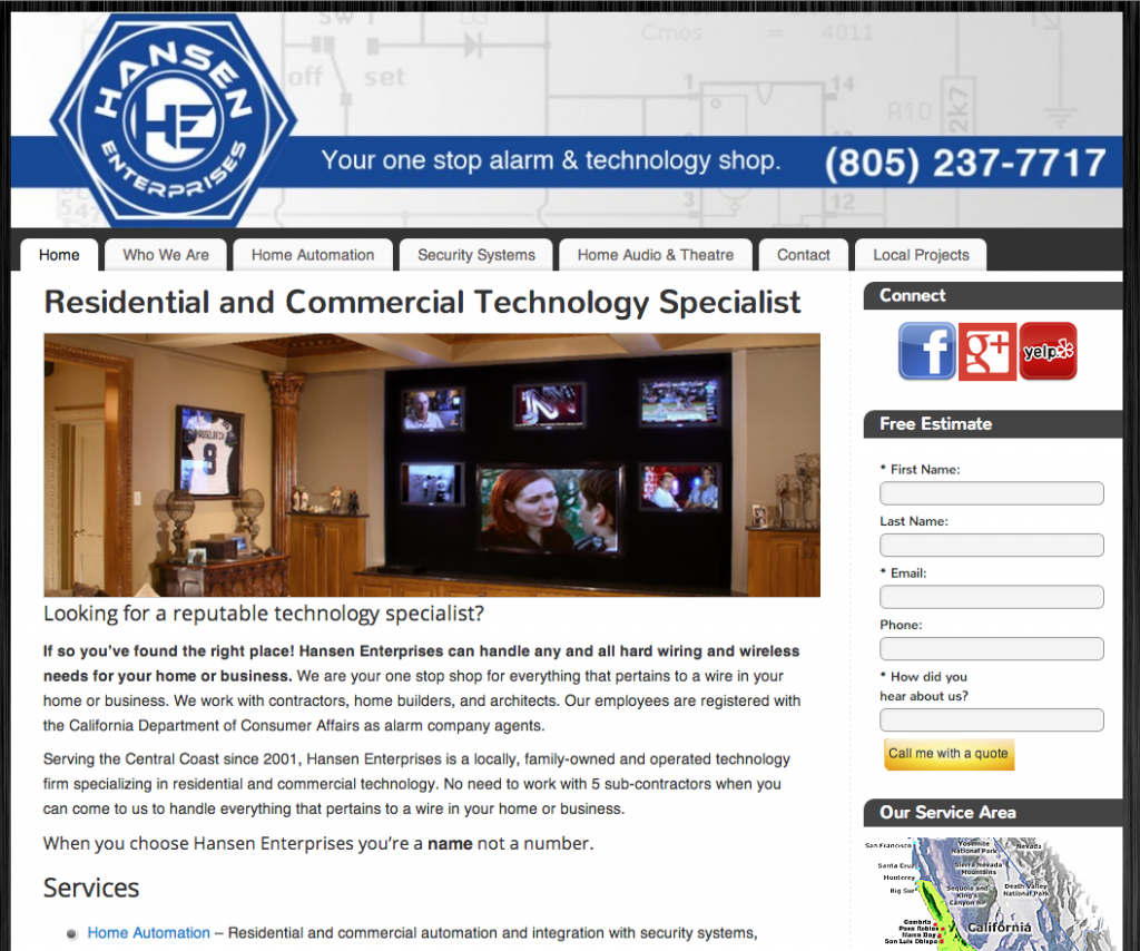 web design central coast hansen enterprises