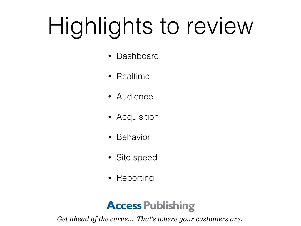 Highlights to review: Dashboard, Realtime, Audience, Acquisition, Behavior, Site speed, Reporting.
