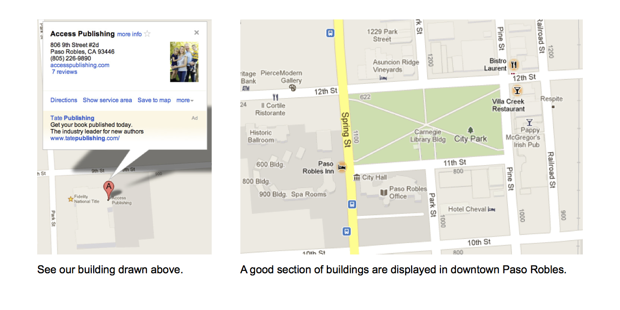 Local Search optimization service - Graphic of Google Maps in Paso Robles, CA