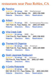 A sample of Bing search listings