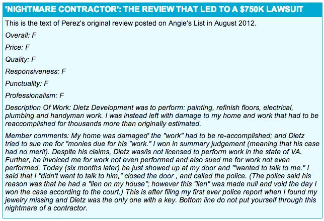 Angie's List review by Jane Perez of Dietz Development