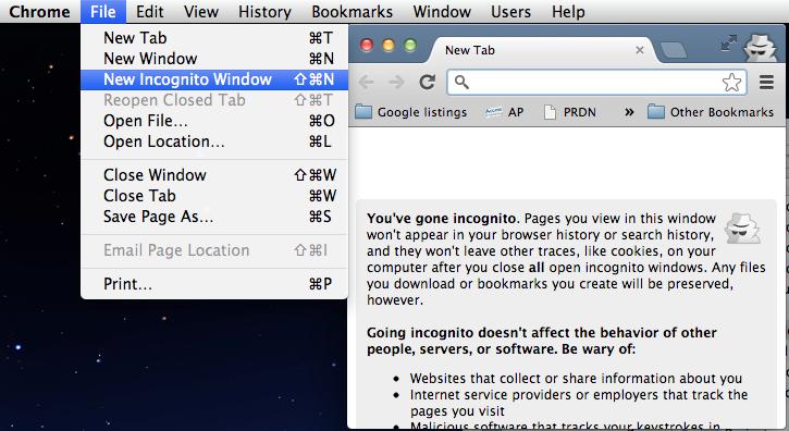 Google Chrome incognito-objective google search results -