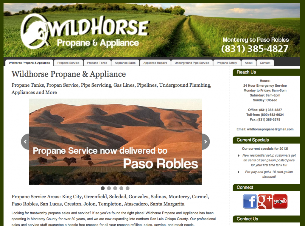 New Website targeting propane service Paso Robles