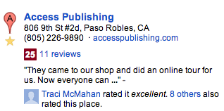 Here's an online review of Access Publishing. Notice it has a Zagat score. Googles assigns this score after your business has 10 reviews.