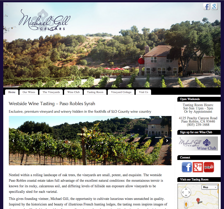 winery web design central coast-gill cellars