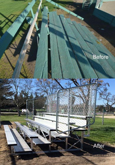 Bleachers before and after