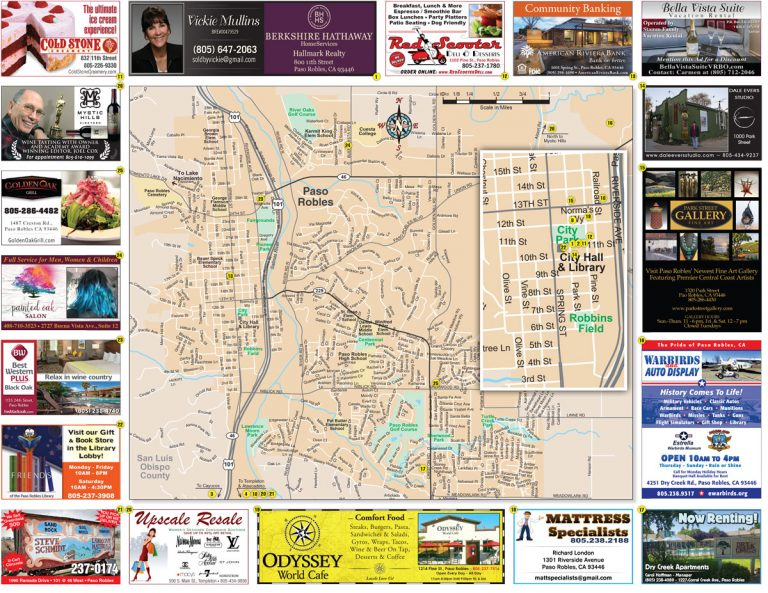 Advertise in new Paso Robles Area Map