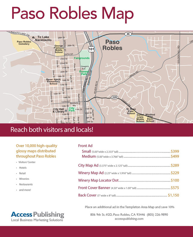 Get your business on the new Paso Robles Area Map